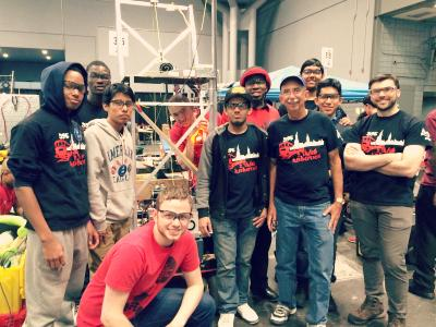 Columbia's 2 Train Robotics team with their robot